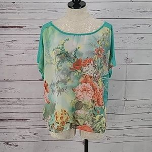AGB Women's Floral Short Sleeve shirt